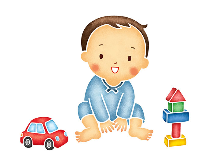 子供とおもちゃイラスト