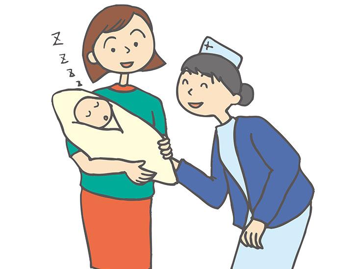 親子と看護婦イラスト
