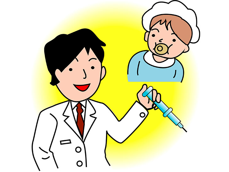 赤ちゃんと医者のイラスト