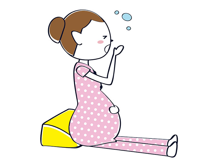 あくびをする妊婦さんイラスト