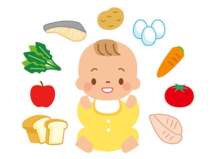 赤ちゃんと食べ物イラスト