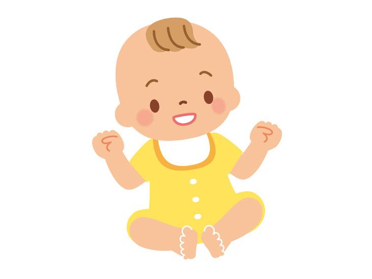 おすわりする赤ちゃんのイラスト