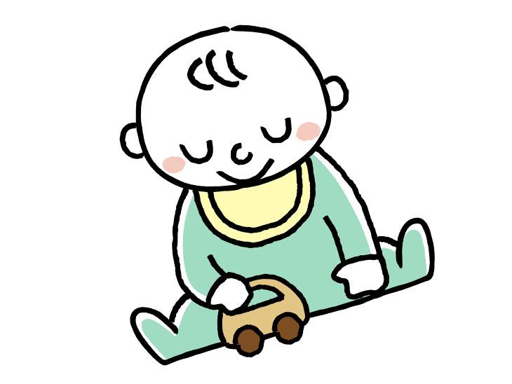 一人で遊ぶ赤ちゃんのイラスト