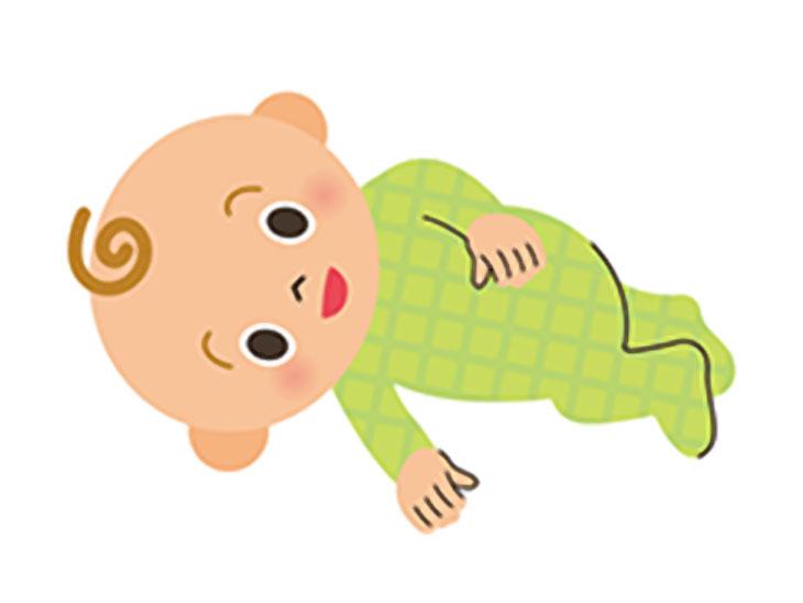 寝返りをする赤ちゃんのイラスト