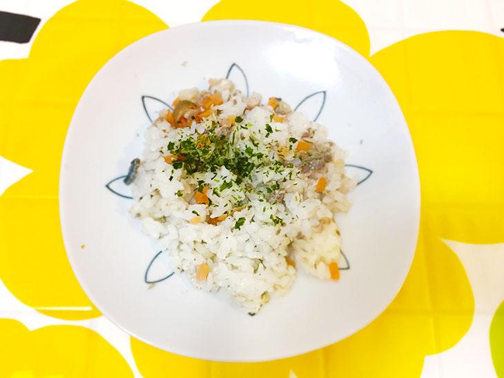 離乳食のいわしの混ぜご飯の完成品