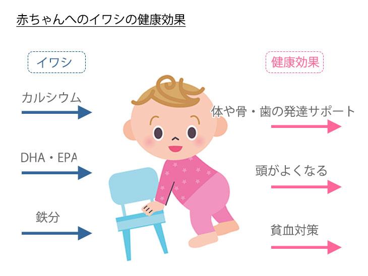 「赤ちゃんへのイワシの健康効果」イメージ