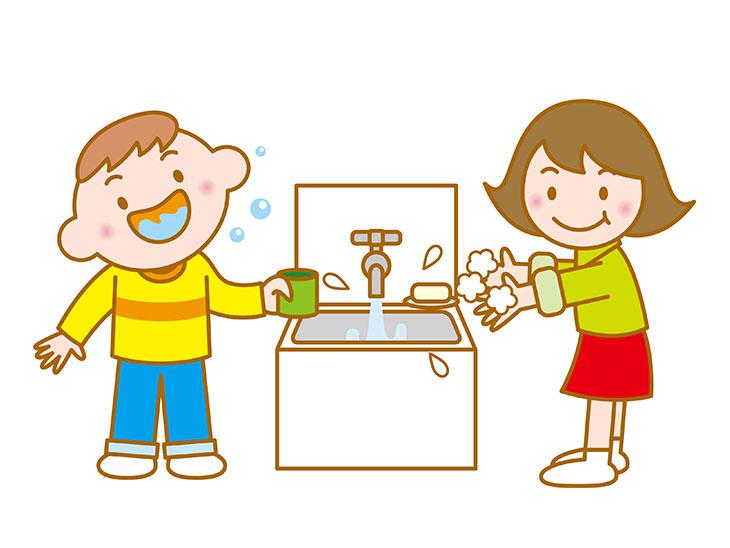 うがいと手洗いイラスト