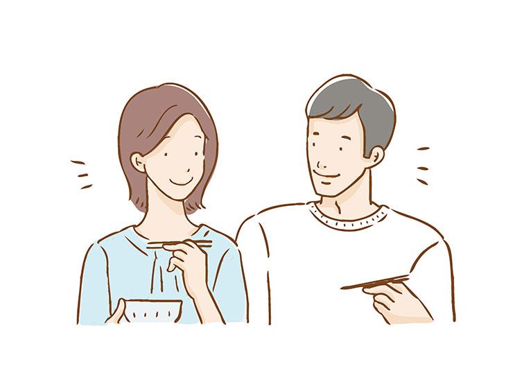 一緒に食事をする仲良しの夫婦イラスト