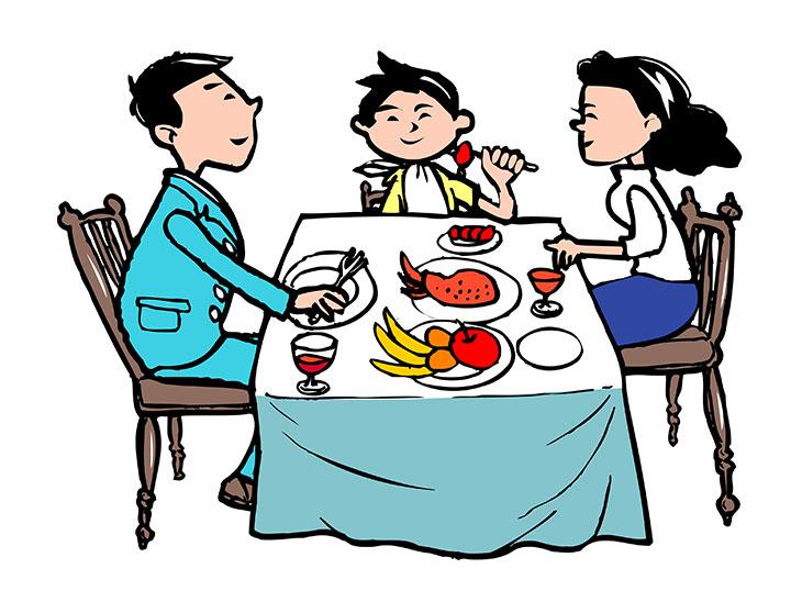 外食をする家族イラスト