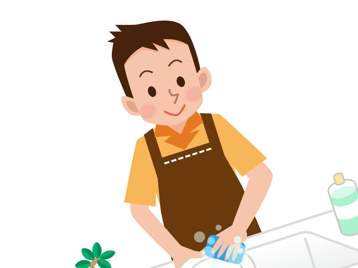 洗い物をする男性のイラスト