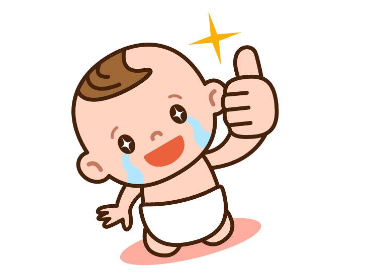 親指でOKサインをしてるい赤ちゃんのイラスト