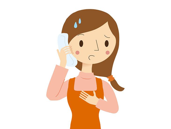 電話で話すエプロンをした女性イラスト