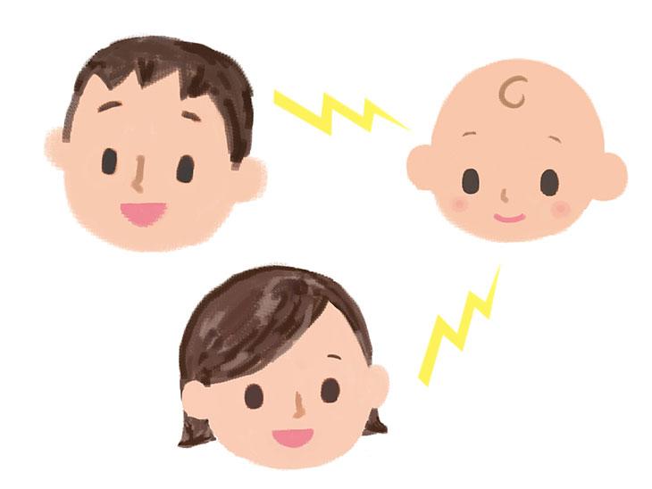 笑顔のパパとママと赤ちゃんのイラスト