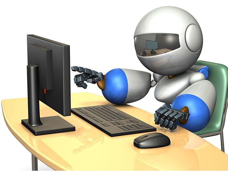 情報を検索するキュートなロボット
