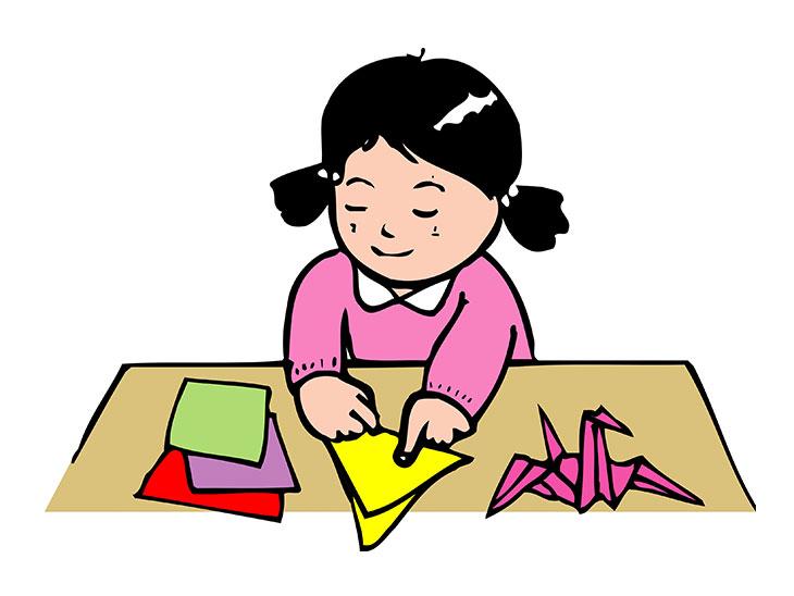 折り紙を折ってる女の子のイラスト