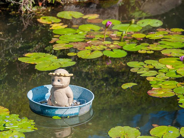 池の中に置かれたカッパの像