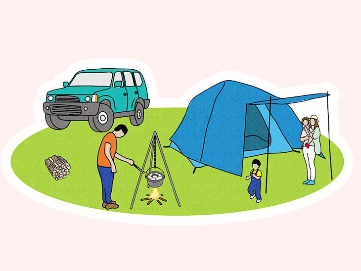 キャンプをしてる家族のイラスト