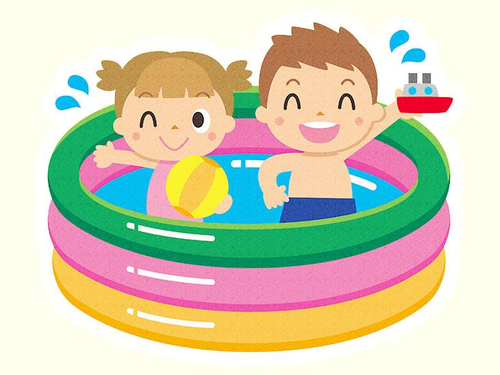 ビニールプールで遊んでる子供のイラスト