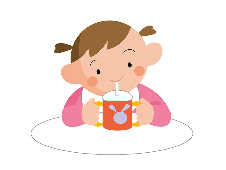 ジュースを飲む赤ちゃんのイラスト