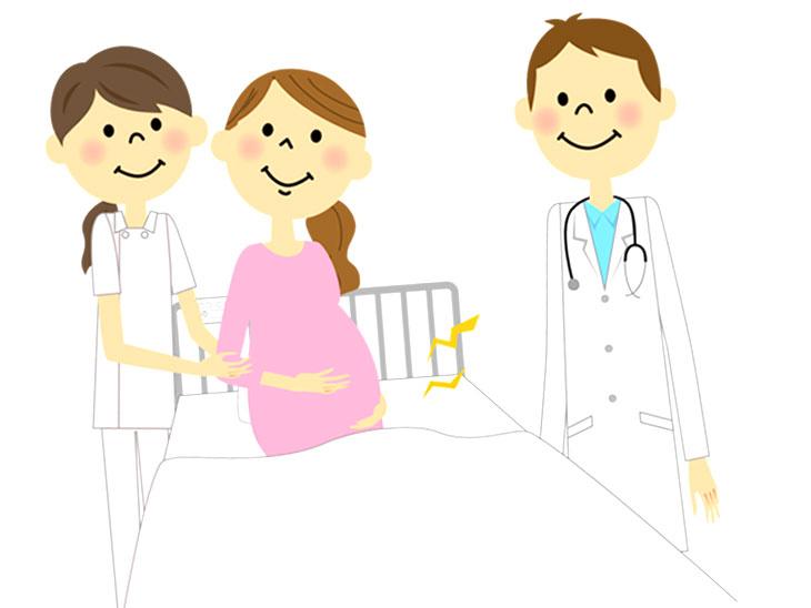 陣痛がきた妊婦と医師や病院スタッフのイラスト