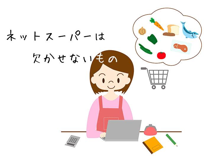 ネットスーパーを使用する主婦のイラスト