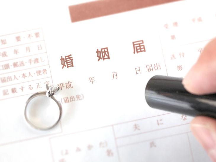 婚姻届と指輪と印鑑