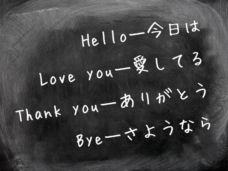 黒板に日本語と英語の言葉