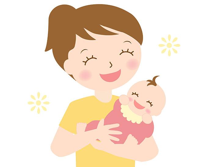 赤ちゃんを抱っこする母親のイラスト