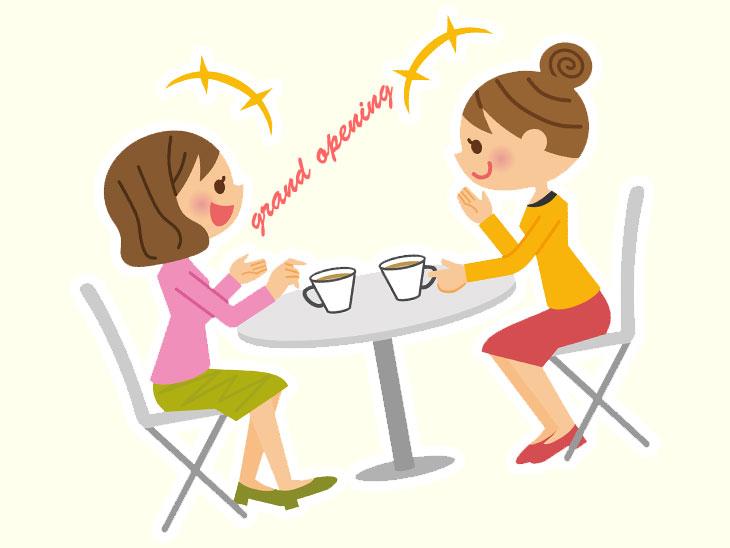 カフェで会話する女性達のイラスト