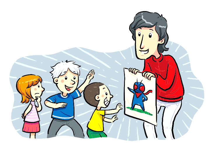 子供にキャラクターの絵を見せる大人のイラスト