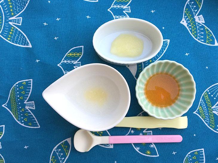 ポテト粥、人参スープ、りんご