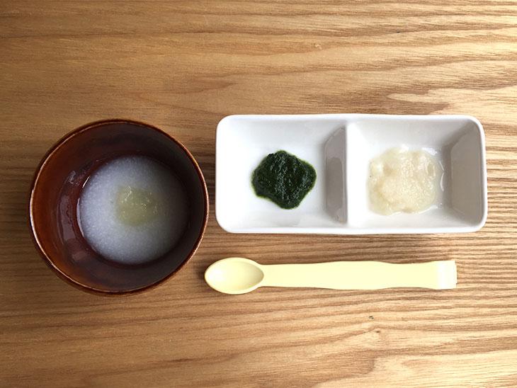 ポテト粥、ほうれん草、玉ねぎ、タイ
