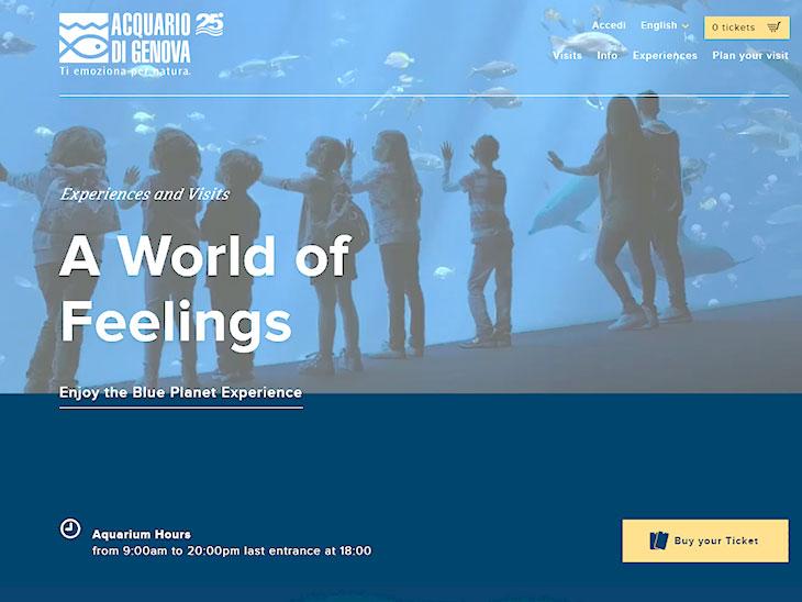 ジェノヴァの水族館サイトのキャプチャ