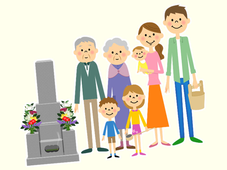 お盆に墓参りをする家族のイラスト