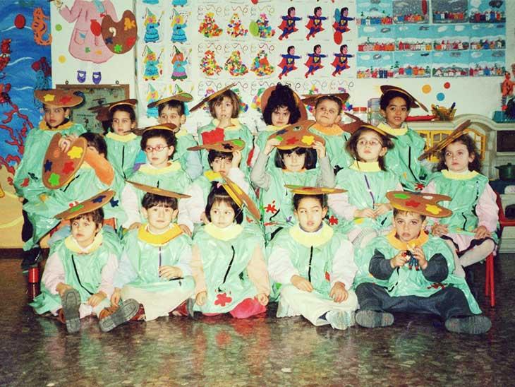イタリアの幼稚園の集合写真