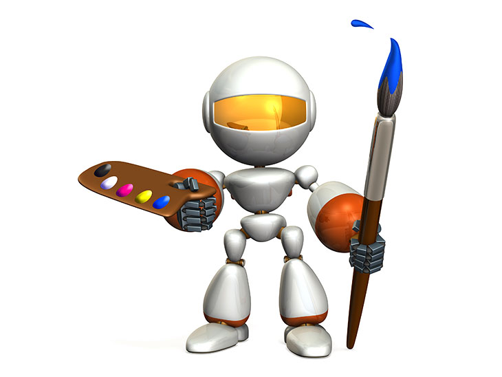 ペイントを持ったロボット