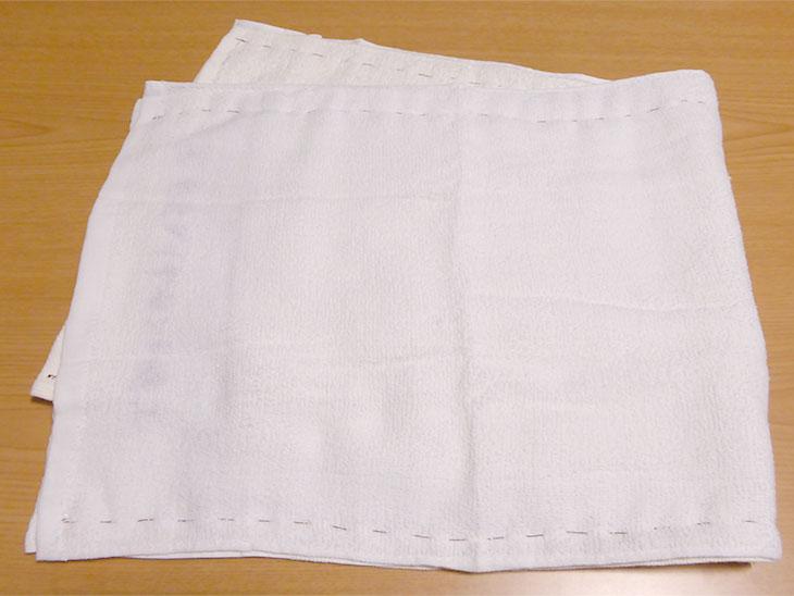 上下を縫ったタオル