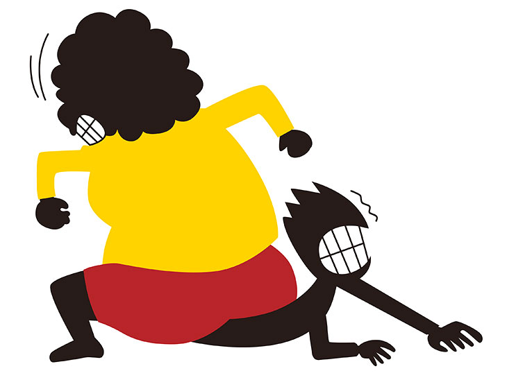 女性につぶされる男性のイラスト