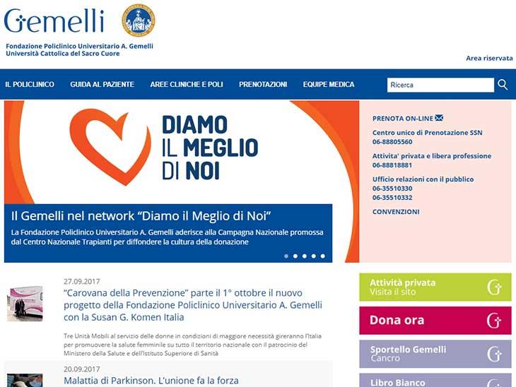 Policlinico Agostino Gemelliサイトキャプチャ画面