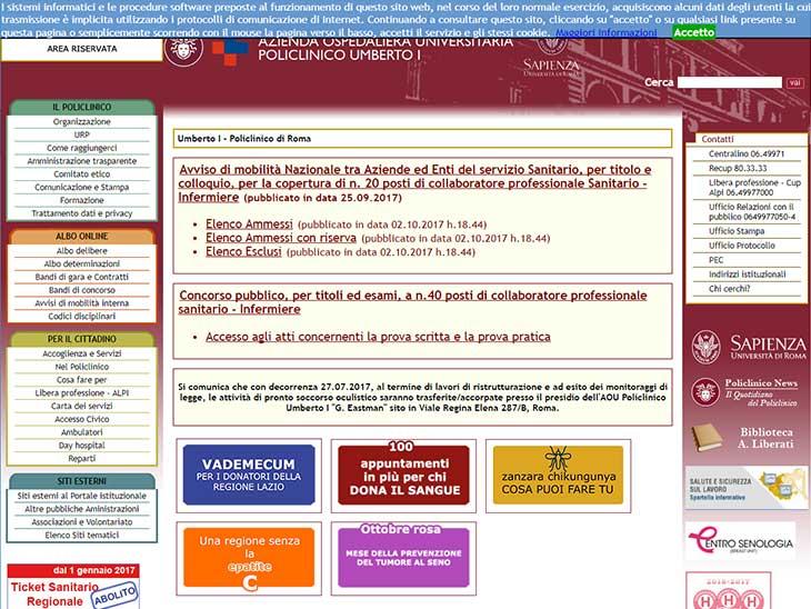 Policlinico Umberto Iサイトキャプチャ画面