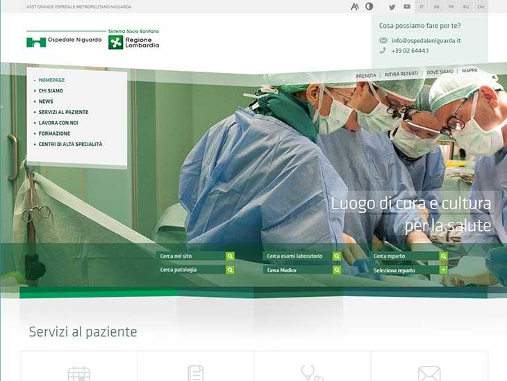ASST Grande Ospedale Metropolitano Niguardaサイトキャプチャ画面