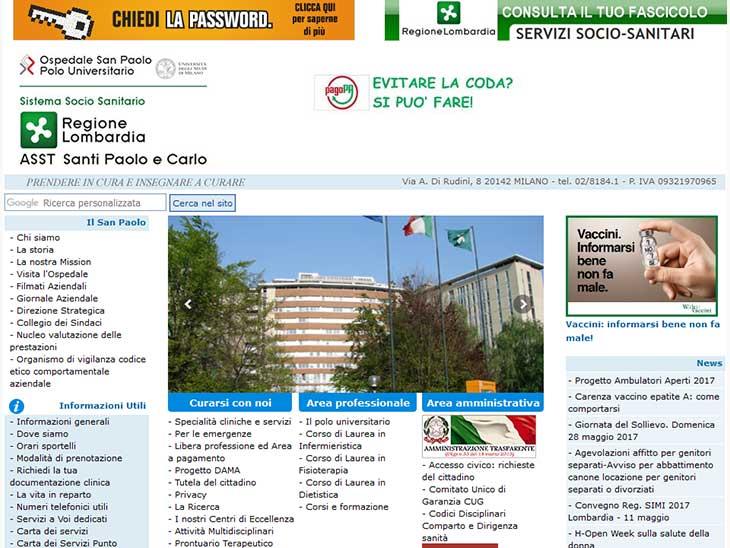 Azienda Ospedaliera San Paoloサイトキャプチャ画面