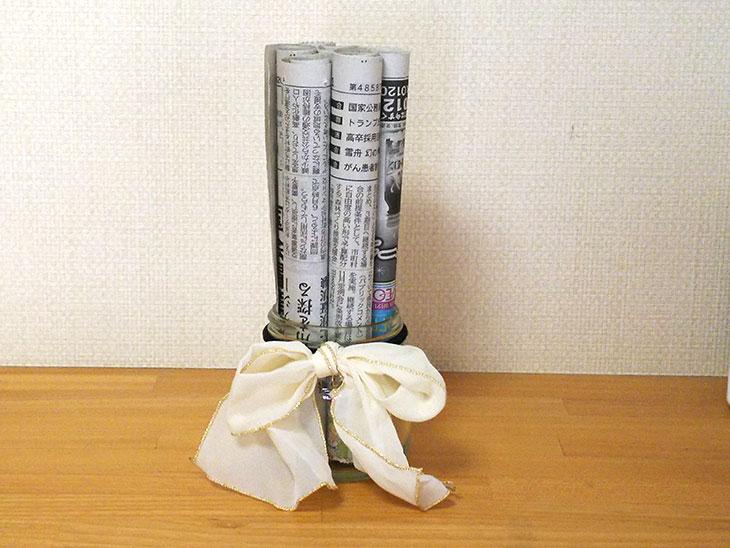 完成した新聞紙の簡易加湿器