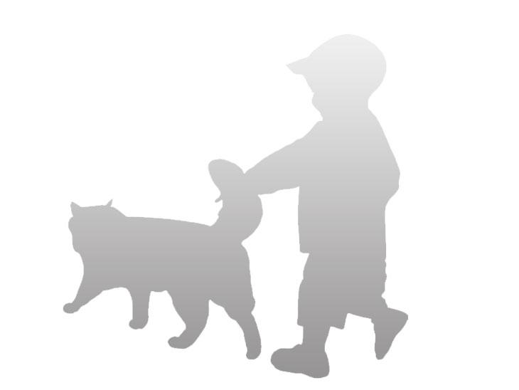 子供と猫のイラスト