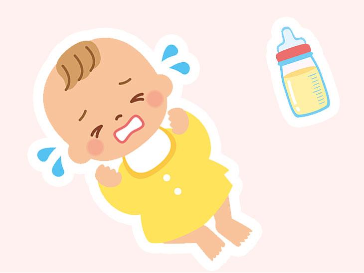 赤ちゃんとミルクのイラスト