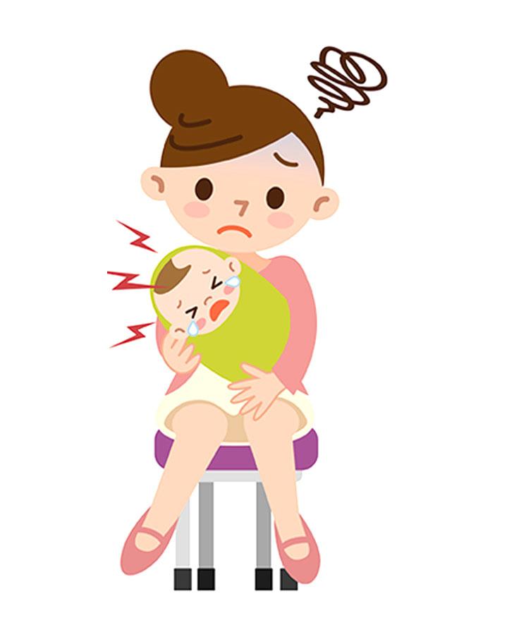 赤ちゃんが泣き止まないで困った母親のイラスト