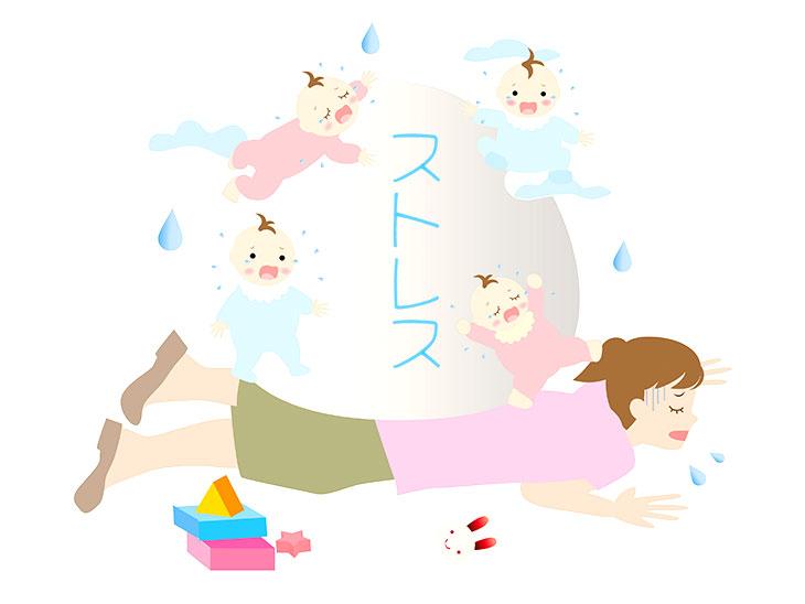 赤ちゃんのストレスで重い主婦のイラスト