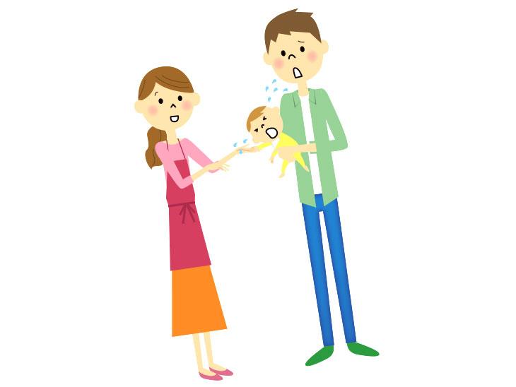 赤ちゃんの世話をする夫婦のイラスト