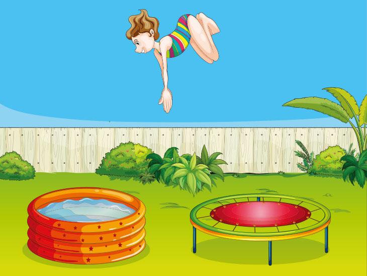 トランポリンからプールへ飛ぶ女性のイラスト