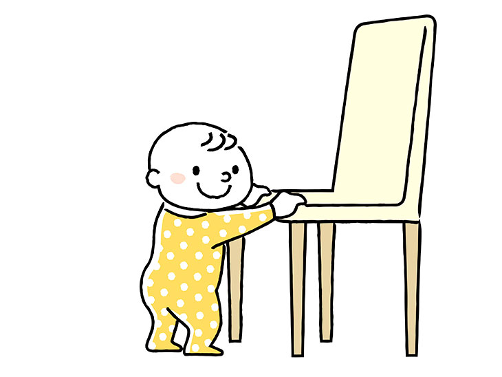 つかまり立ちの赤ちゃんのイラスト